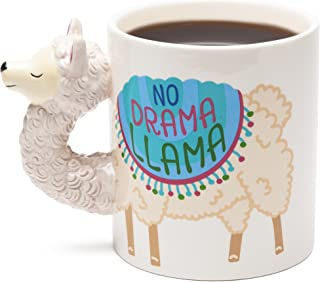BigMouth Inc No Drama Llama Coffee Mug - Hilarious 20 oz Ceramic Coffee Mug with Llama Head Handle – Funny Mug is Perfect for The Home or Office, Makes a Great Gift