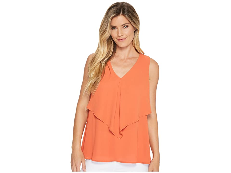Karen Kane Pleated Overlay Top (Orange) Women