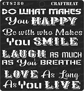 CrafTreat Stencil - Happy Smile - Reusable Painting Template for Journal, Home Decor, Crafting, DIY Albums, Scrapbook, Decoration and Printing on Paper, Floor, Wall, Tile, Fabric, Wood 6x6 inches