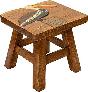 Sea Island Imports Pelican Design Hand Carved Acacia Hardwood Decorative Short Stool