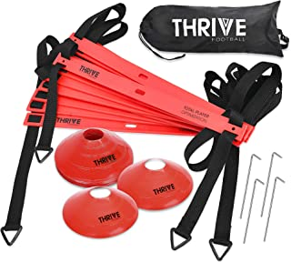 Thrive Football Speed and Agility Training Set for Soccer 15 Foot 12 Rung Agility Speed Ladder, 12 Training Cones, 4 Metal Stakes, and Carrying Bag - Ultimate Training Kit to Boost Fitness Levels