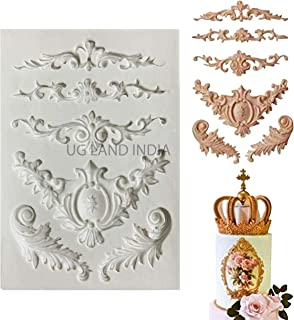 UG LAND INDIA Baroque Sculpted Cake Mould Flower Lace Retro Relief Silicone Fondant Decor Sugar Icing Mold Mat Decorating ...