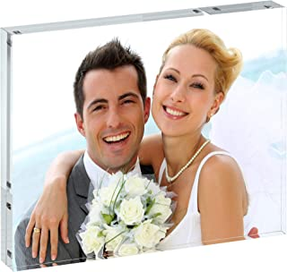 Unum Clear 8x10 Acrylic Picture Frame: 30MM Magnetic Floating Picture Frames - Frameless Double Sided Photo Holder/Document Display Stands - 8 x 10 Inch Acrylic Block Frame for Desk, Shelf or Table