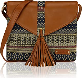 Ethnic Woven Fabric Small Shoulder Crossbody Messenger Cell Phone Purse Handbag With Tassel For Women Ladies Girls