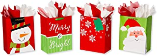 American Greetings Large Christmas Gift Bags with Tissue Paper Bundle; 4 Gift Bags and 20 Sheets of Tissue Paper