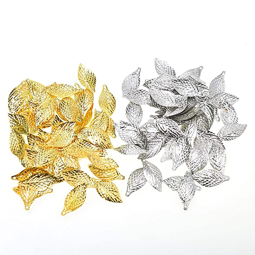 Monrocco 200 Pcs Mixed Metal Alloy Filigree Leaf Charms Pendant Bulk for Bracelets Jewelry Making