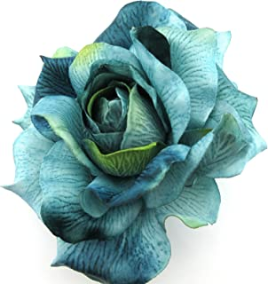 5 Variegated Teal Blue Poly Silk Rose Flower Brooch Pin