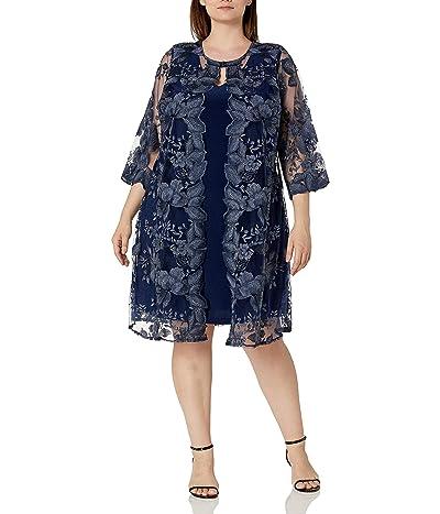 Alex Evenings Plus Size Midi Scoop Neck Shift Dress With Jacket
