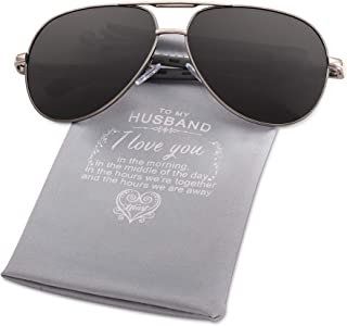 Personalized Aviator Sunglasses for Men -Polarized Sunglasses UV400 Protective - Best Gift For Son Husband From Mom