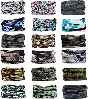 KINGREE 18PCS Outdoor Multifunctional Sports Magic Scarf, High Elastic Magic Headband with UV Resistance, Headscarves, Headbands