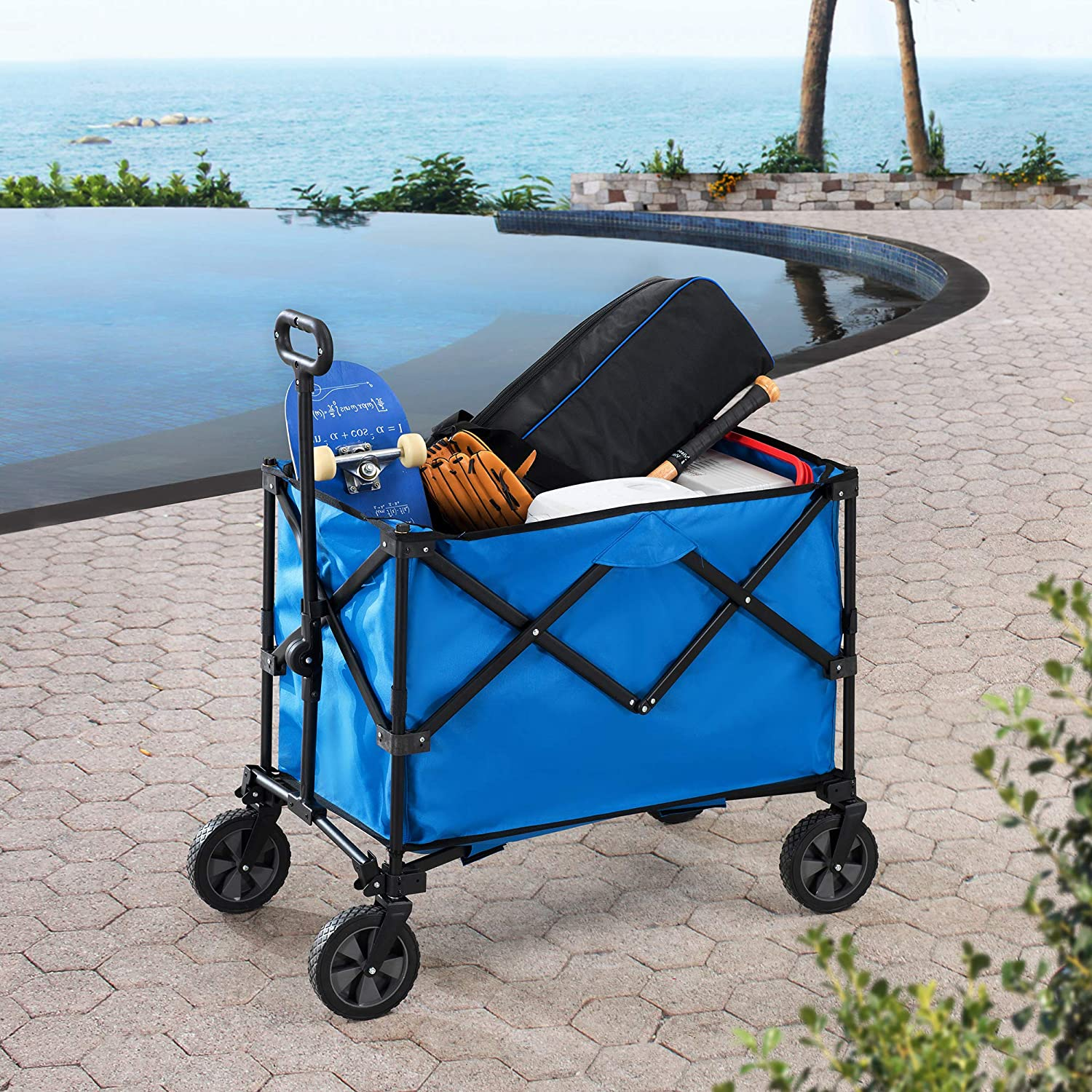 Sunjoy Odell Collapsible Free shipping anywhere in the nation Folding Wagon Albuquerque Mall with Cart Wheels Blue