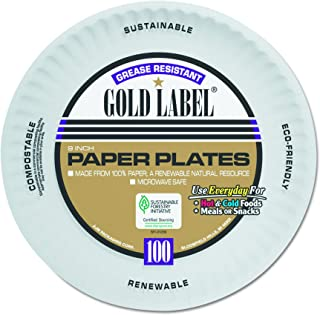 """AJM Packaging CP9GOAWH Gold Label White Coated Paper Plate, 9"""" Diameter (12 Packs of 100)"""