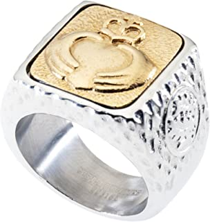 Unique Claddagh Signet Ring. Platinum Style Surgical Stainless Steel with 18kt Gold Plating. Comfort Fit.