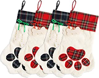Tanlee 4 Pieces Pet Paw Christmas Stockings 18 Inch Pet Dog Christmas Stocking Plaid Christmas Stockings Fireplace Hanging Stockings for Christmas Hanging Decorations (4, Red and Green)