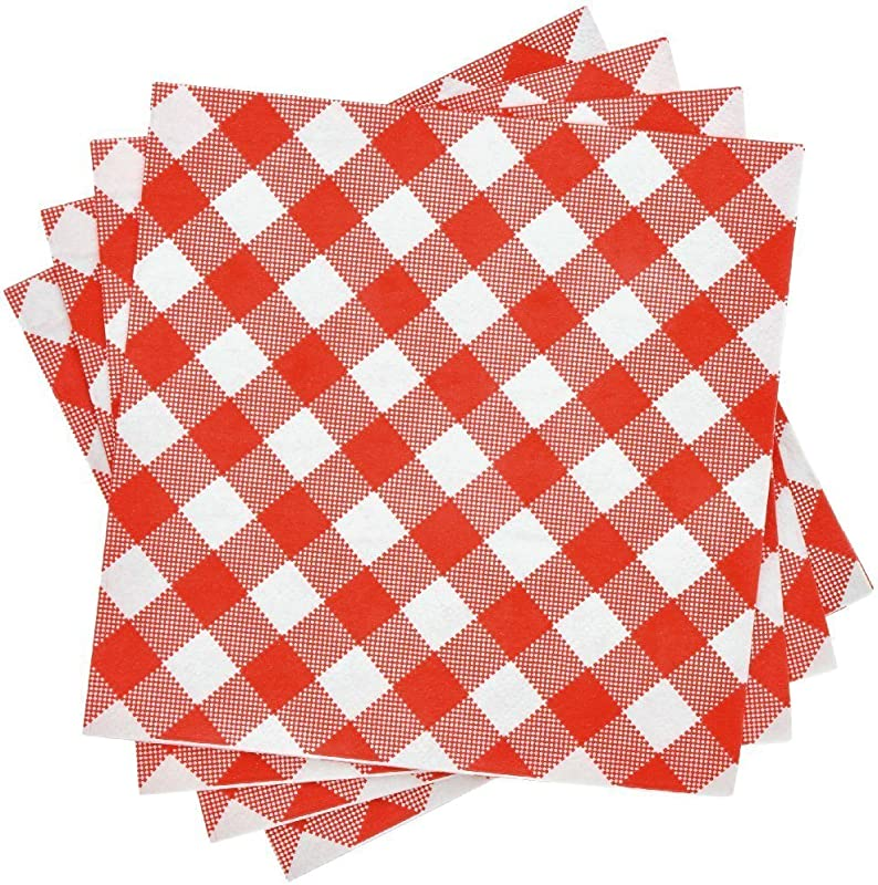 Red And White Gingham Luncheon 2 Ply Napkins 100 Count