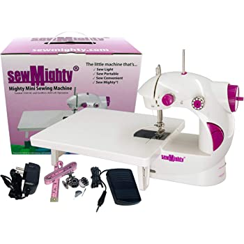 Sew Mighty, The Original Mighty Mini Portable Sewing Machine for Beginners, Kids, Travel, Quick Repairs & Small Projects – Dual-Speed, Battery & AC Power, Extension Table, Foot Pedal (Mighty Mini)