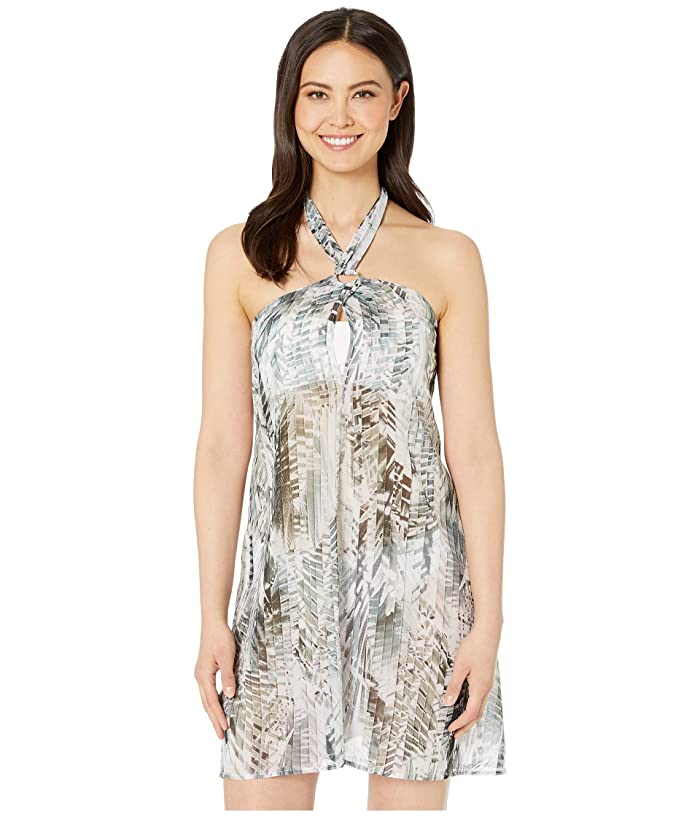 Kenneth Cole Leaf It To Me Keyhole Halter Dress Cover-Up (Olive) Women