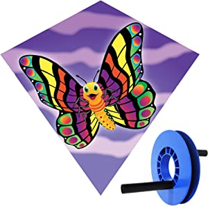 Brainstorm 18 Inch Nylon Butterfly Diamond Kite with Kite Reeler and Drawstring Bag