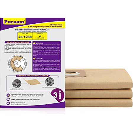 Puroom 5 Pack Vacuum Filter Bags Compatible with Stanley /& Porter-Cable /& Vacmaster 4 Gallon Wet Dry Vacuum VFDB Part # 25-1238
