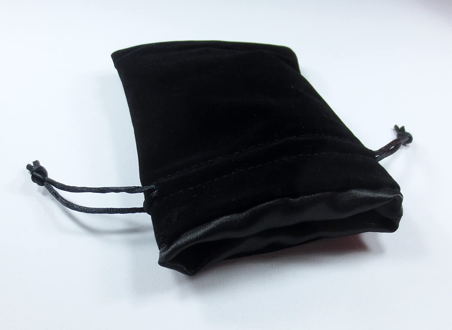 4x5  Black Premium Velvet Dice Bag  THE BLACK VOID  with Strong Black Satin Lining (Holds 5 Sets   35 Dice)