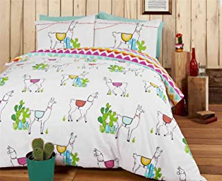 LLAMAS CACTI ZIG ZAG BLUE COTTON BLEND REVERSIBLE USA FULL (COMFORTER COVER 200 X 200 - UK DOUBLE) (PLAIN DUCK EGG BLUE FITTED SHEET - 137 X 191CM + 25 - UK DOUBLE) PLAIN DUCK EGG BLUE HOUSEWIFE PILLOWCASES 6 PIECE BEDDING SET