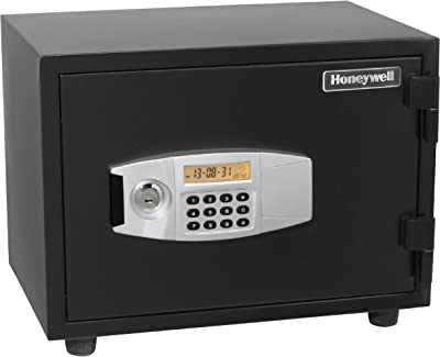 Honeywell Safes & Door Locks - 2112 Steel 1 Hour Fireproof and Water Resistant and Security Safe with Dual Digital Lock and Key Protection, 0.55-Cubic Feet, Black