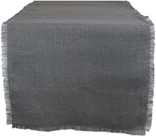 DII 100% Jute, Rustic, Vintage Table Runner, for Parties, BBQ's, Everyday, Holidays Use, 15x110, 15 x 110, Solid Gray