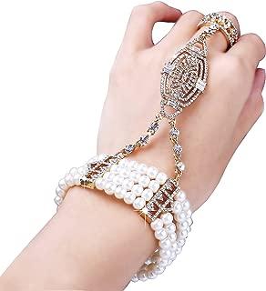 1920s Flapper Bracelet Ring Set Roaring 20s The Great Gatsby Austrian Crystals Imitation Pearl Bracelet Accessory