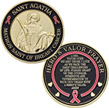 Hero's Valor St. Agatha Matron Saint of Breast Cancer Challenge Coin with Prayer 1-Pack (One Coin)