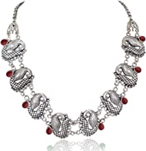 Sansar India Oxidized Peacock Indian Necklace Jewelry for Girls and Women 1249a