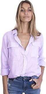 Womens 100% Linen Button Down Shirt Casual Basic Blouse Pockets Loose Top