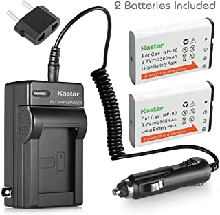 Kastar Battery (2-Pack) and Charger Kit for Casio NP-90 work with Casio Exilim EX-H10 EX-H15 EX-H20G EX-H20GBK EX-H20GSR EX-FH100 EX-FH100BK Cameras