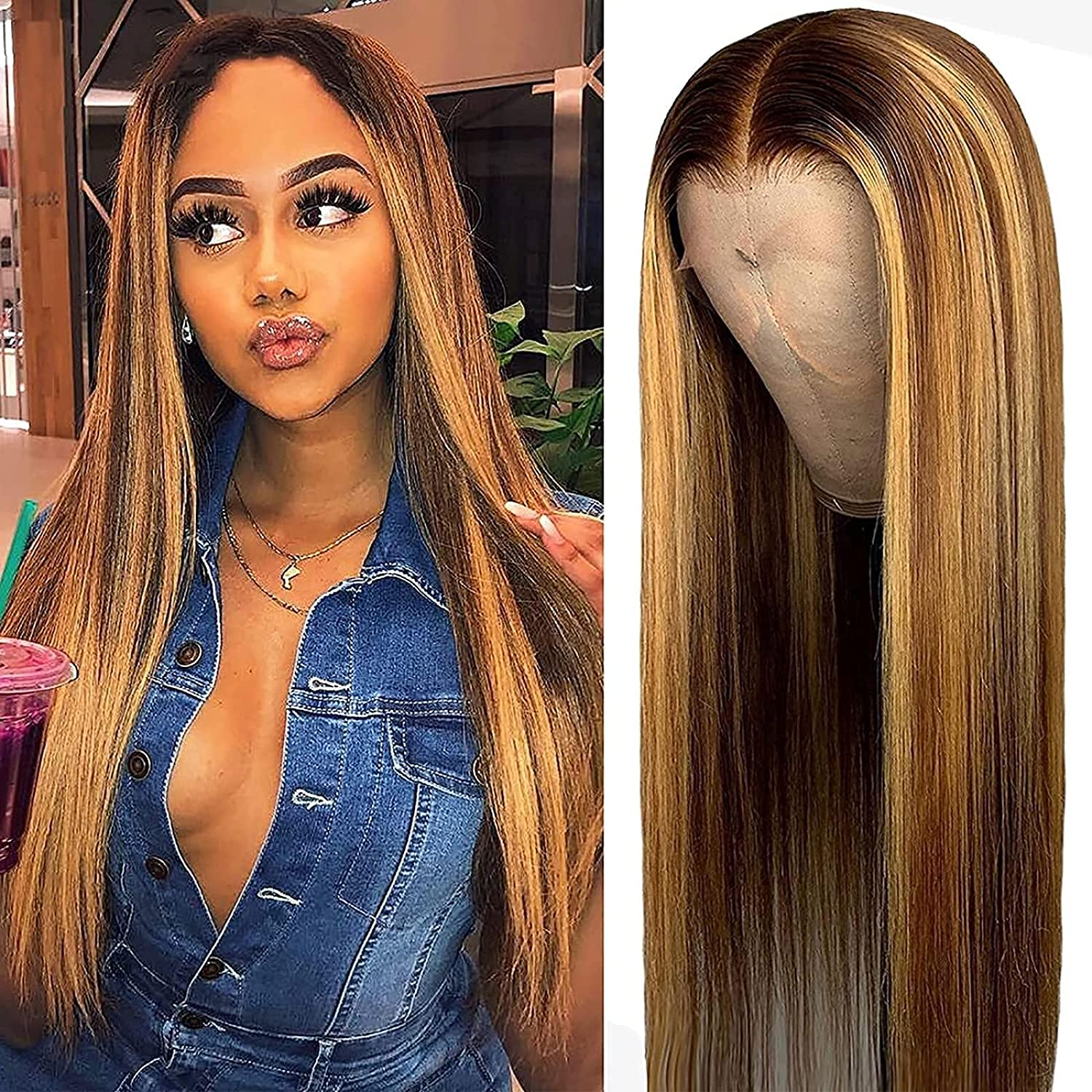 Cosplay Highlights Blonde Wig Free Shipping New for Straight NEW Synthetic Long Women