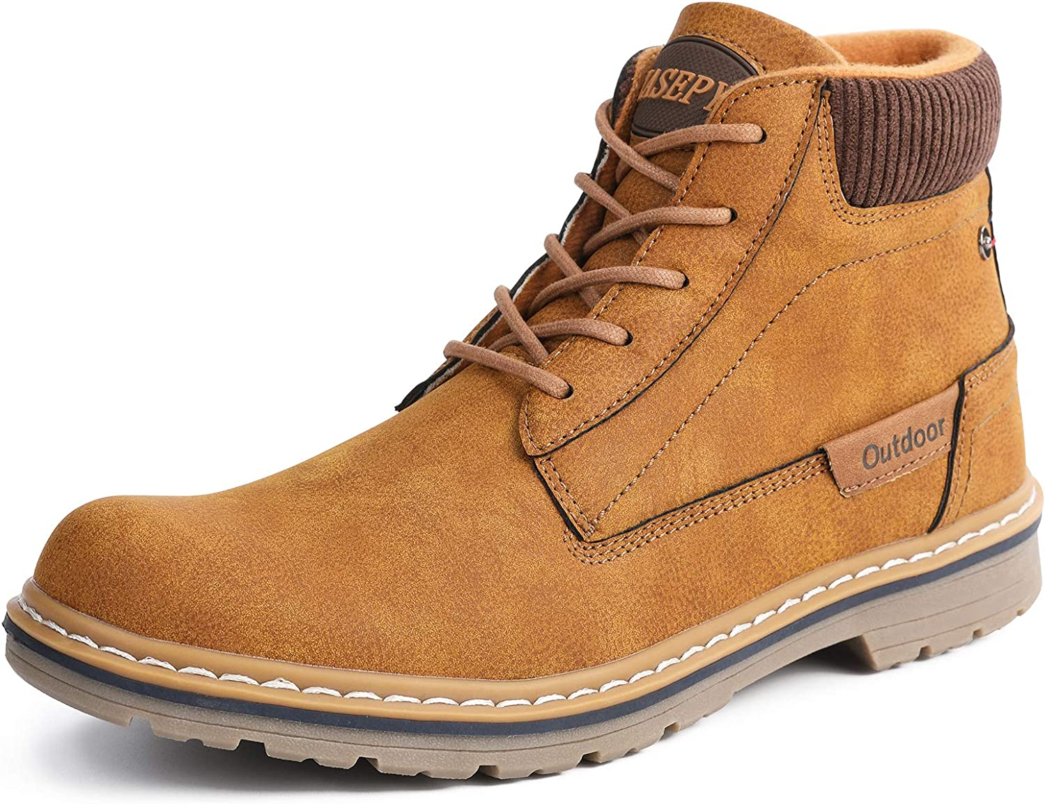ZASEPY Mens Boots Anti-Slip Water Resistant Leather Outdoor Shoes Casual Boot for Men
