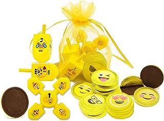 Hanukkah Chocolate Children Gift Set Of Emoji Milk Chocolate Gelt, Emoji Dreidels And Emoji Spinner