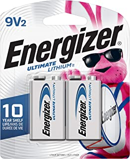 Energizer 9V Lithium Batteries, Ultimate Lithium 9 Volt Batteries (2 Battery Count) - Packaging May Vary