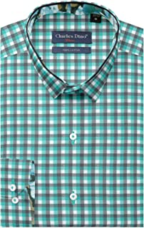 Mens 100% Cotton Mens Slim FIT Green Brown Checkered Shirt for Casual WEAR