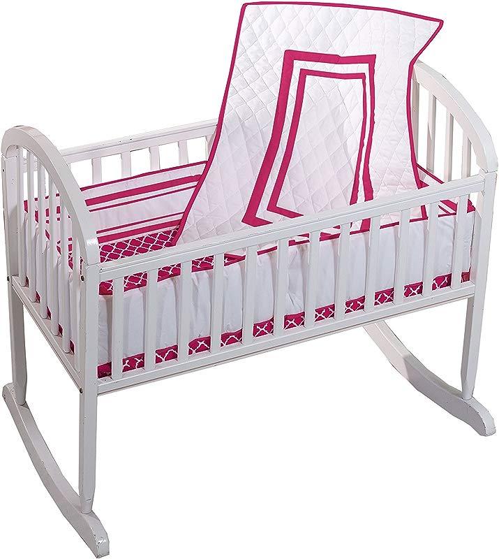 Baby Doll Bedding Soho Mini Crib Port A Crib Bedding Set With 100 Cotton Trellis Design Sheet Hot Pink