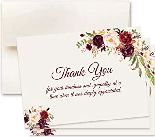 15 Sympathy Acknowledgement Cards, Includes Envelopes