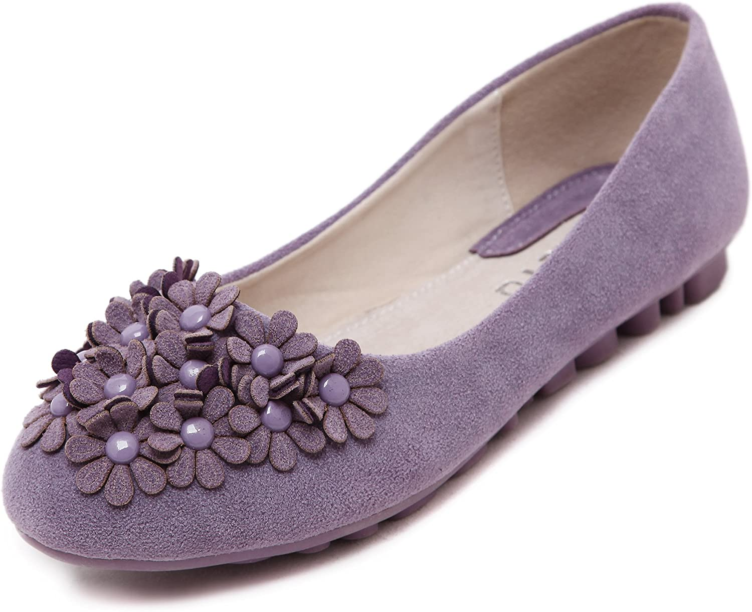 AZMODO Women's Round Toe Slip On Flats shoes A678