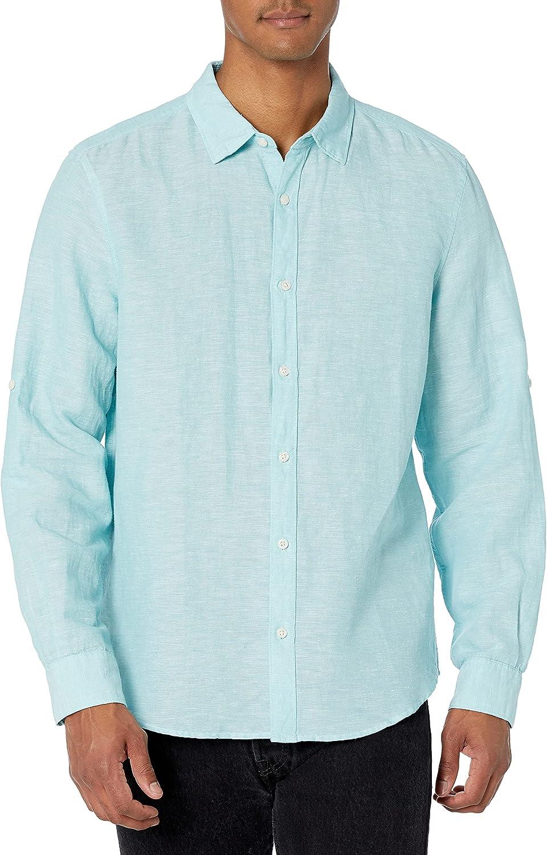 Perry Ellis - Camisa de algodón de Lino sólido con Mangas ...