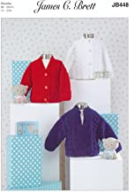 James Brett Chunky Knitting Pattern Baby Kids Cabled Round or V Neck Cardigan & Sweater (JB448)