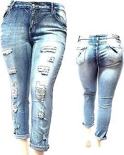 998b71df7d JACK DAVID Womens Plus Size Blue Boyfriend Denim Jeans Ripped Distressed  Pants