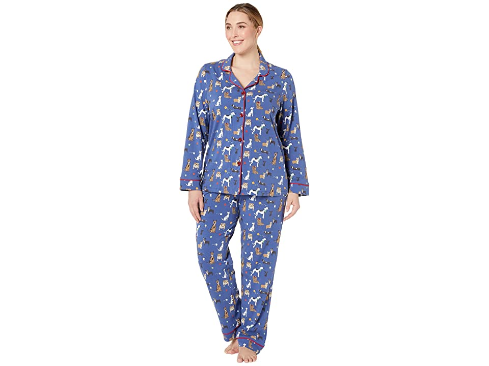 BedHead Pajamas Plus Size Long Sleeve Classic Notch Collar Pajama Set (Dog Park) Women