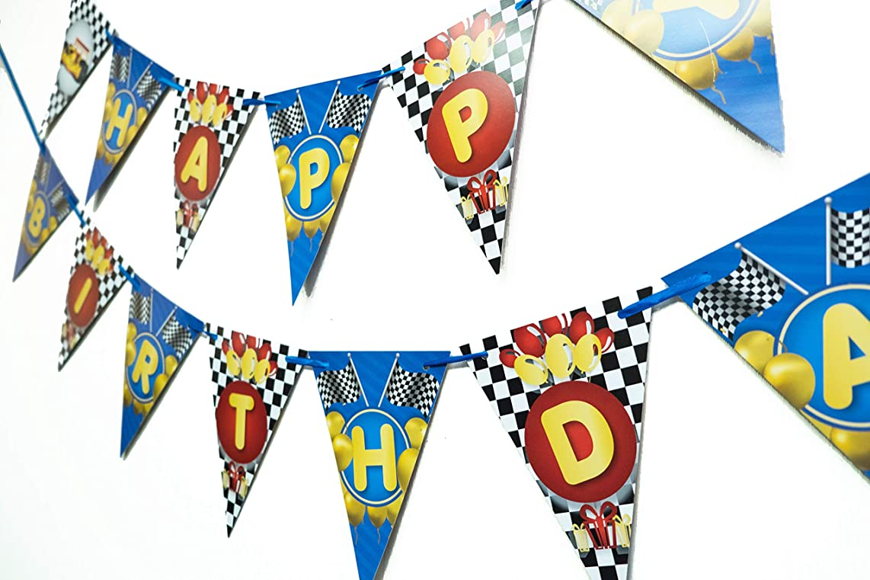 Wellin Race Car Birthday Paper Pennant Banner Race Theme Decoration