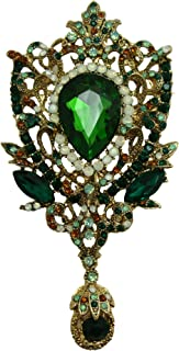 TTjewelry Fashion Gold-Tone Crown Flower Green Crystal Brooch Pendant