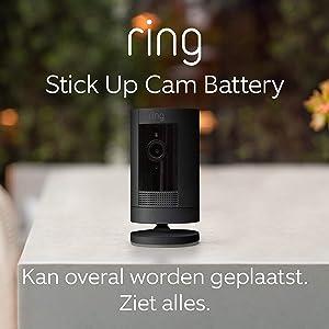 Ring Stick Up Cam Battery van Amazon, HD-beveiligingscamera met tweeweg-audio | Inclusief proefabonnement van 30 dagen op Ring Protect Plus | Zwart