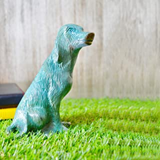 Aakrati Sitting Brass Dog Green Finished 5 Inch Figurine Made in Brass Metal handicrafts for Gift