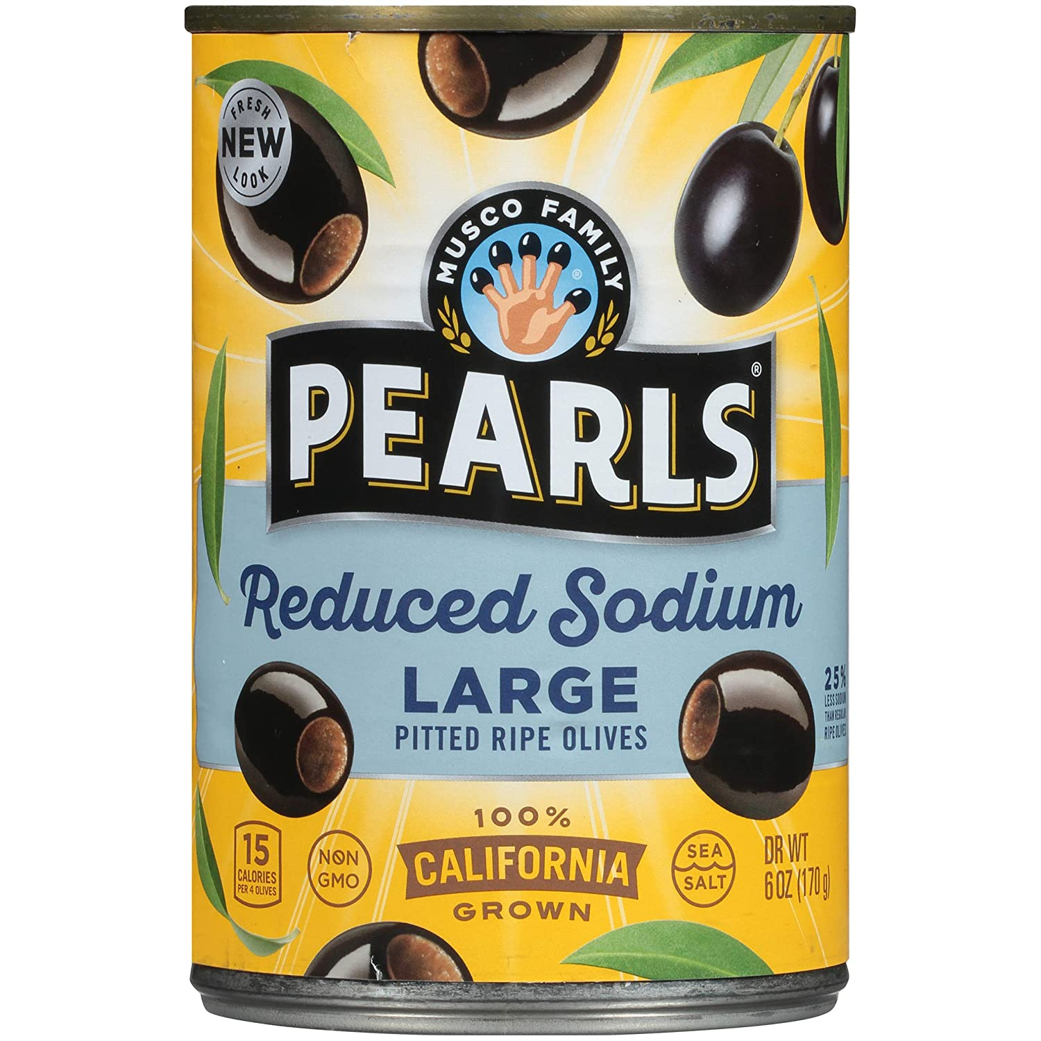 PEARLS Reduced-Sodium Ripe Black Unflavor Pitted Topics on TV Max 75% OFF Olives Large