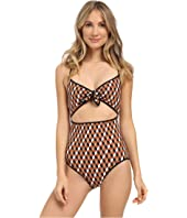 Michael Kors - Deco Hexagon Strappy Cross Back Tie Front Maillot